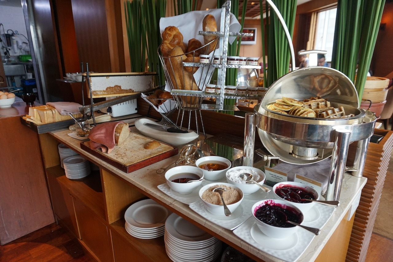 Breakfast breads and pastries in the lounge