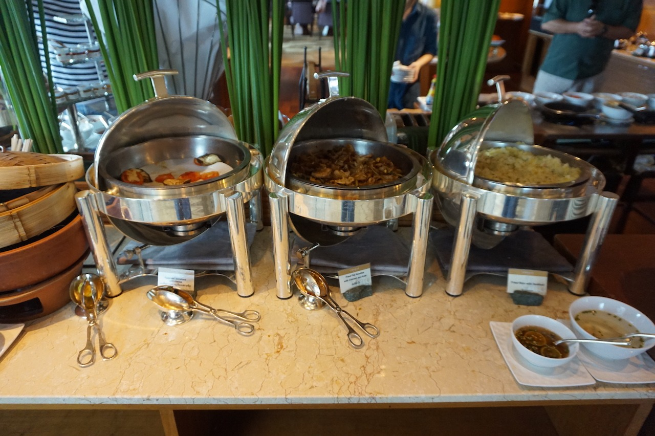 Hot buffet items in the lounge