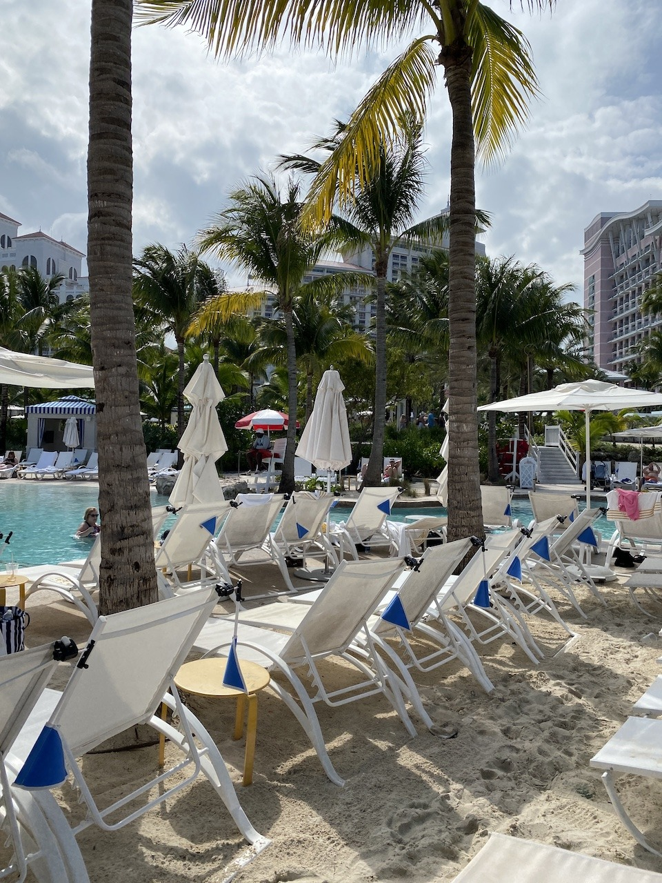 Lounge chairs at pool