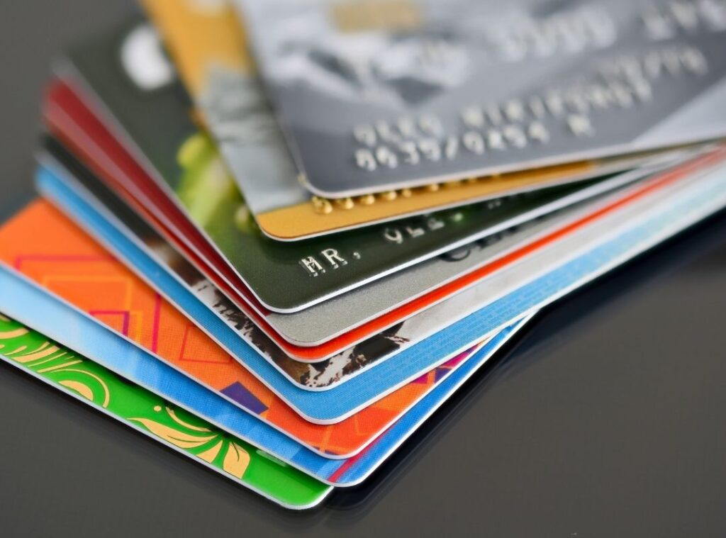 Picture of credit cards, common item left behind in hotel rooms