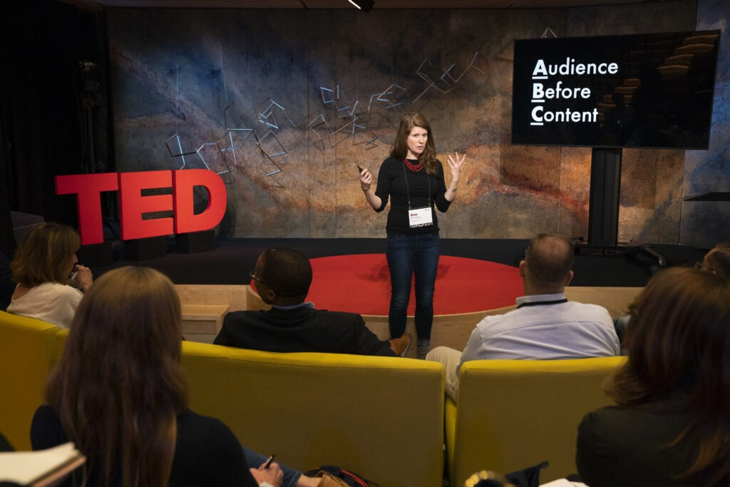 Ted Talk speaker on stage for one of the Marriott Bonvoy Moments